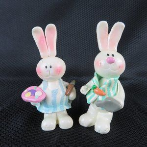 Set of 2 Vintage Polymer Clay Easter Bunny Rabbits